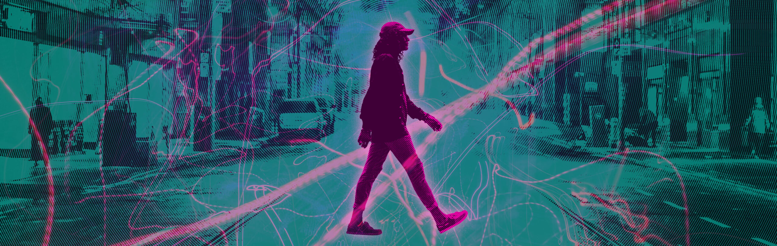 Pink profile of a person crossing street against a teal background
